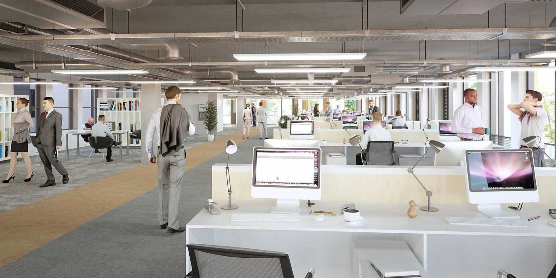 CGI interior of office desk plan