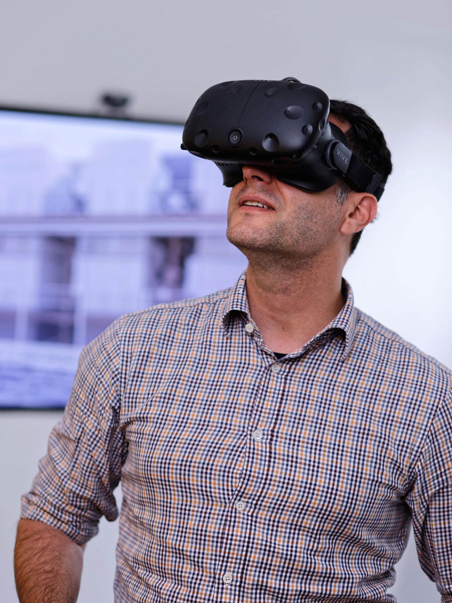 Staff using VR headset