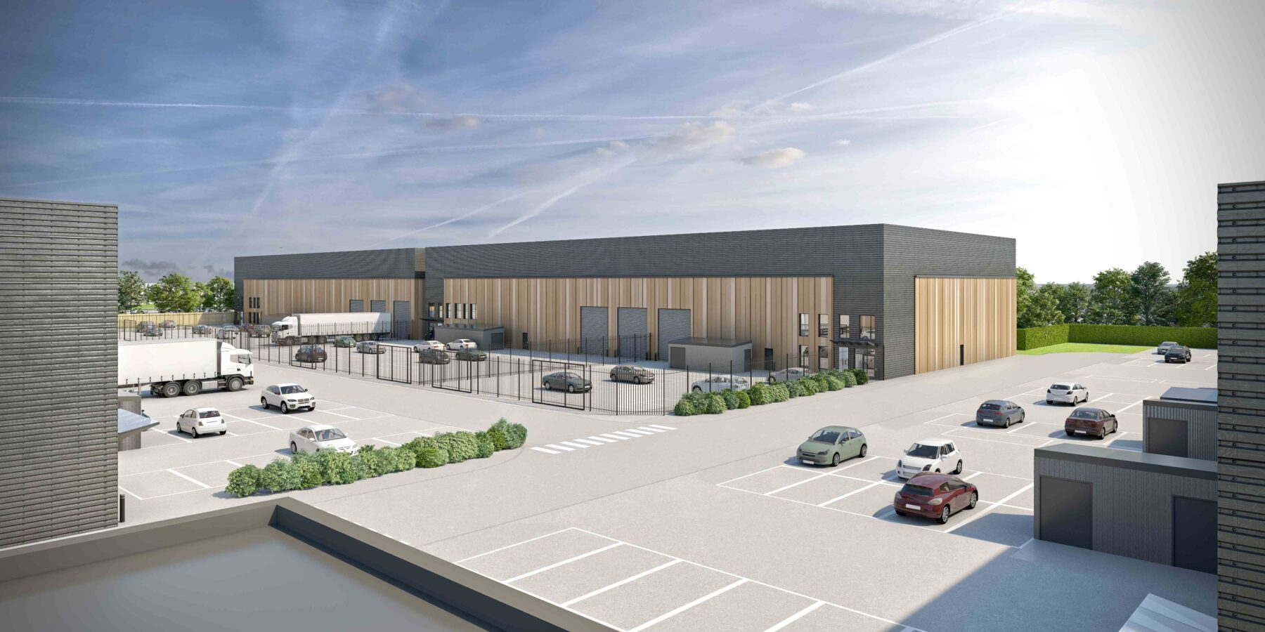 exterior CGI of an industrial park project