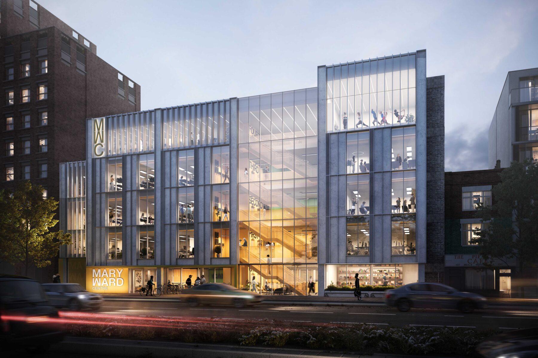 CGI facade of the Mary Ward centre at night