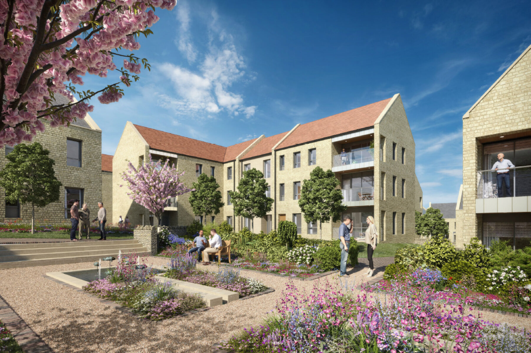 CGI courtyard for Stow on the Wold