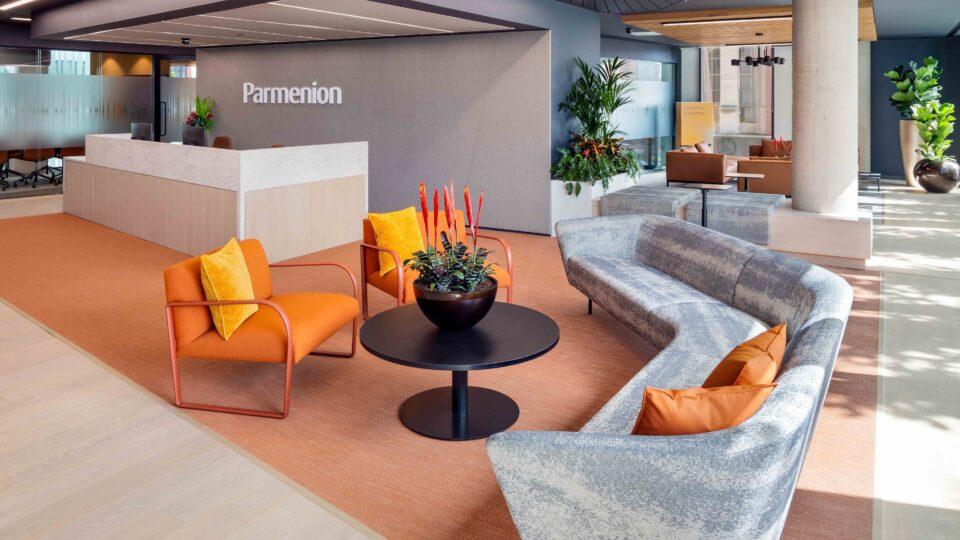 Parmenion entrance seating area