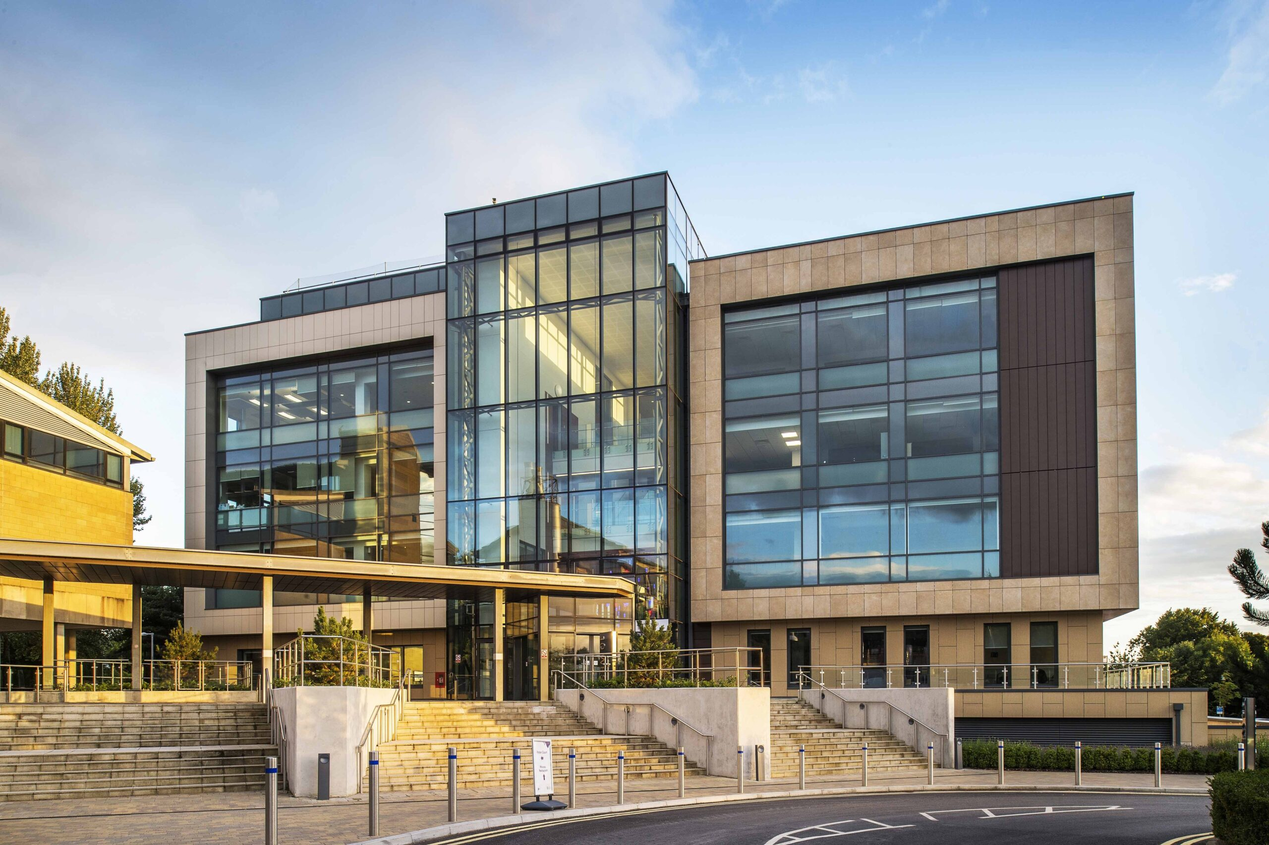 Exterior facade of 10 West at the University of Bath