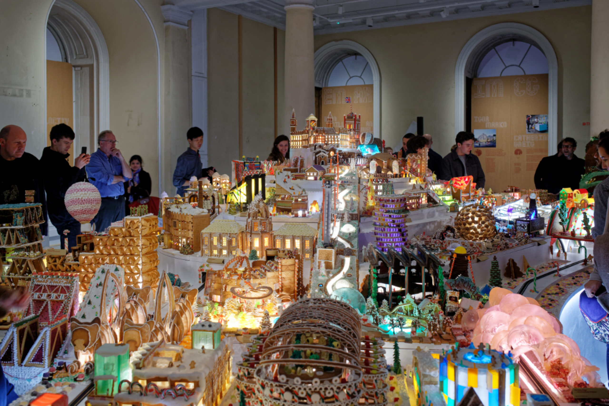 Gingerbread city exhibit room with all entries arranged