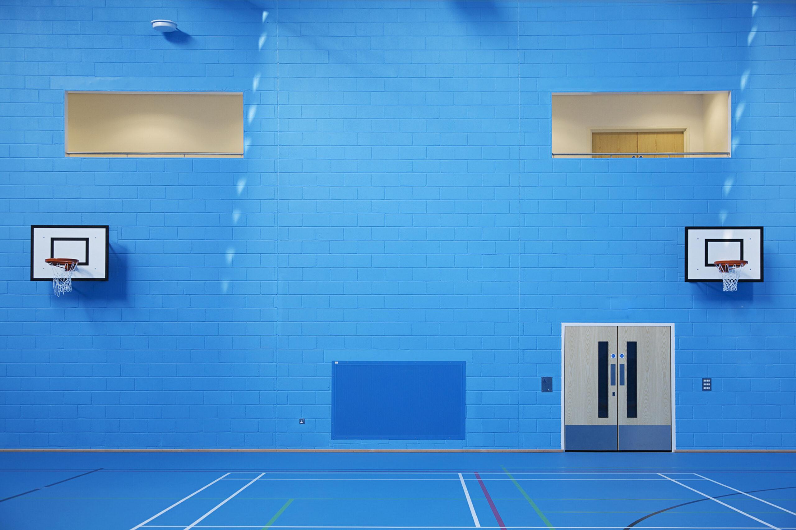 Blue gym inside Hayesfield Girls School